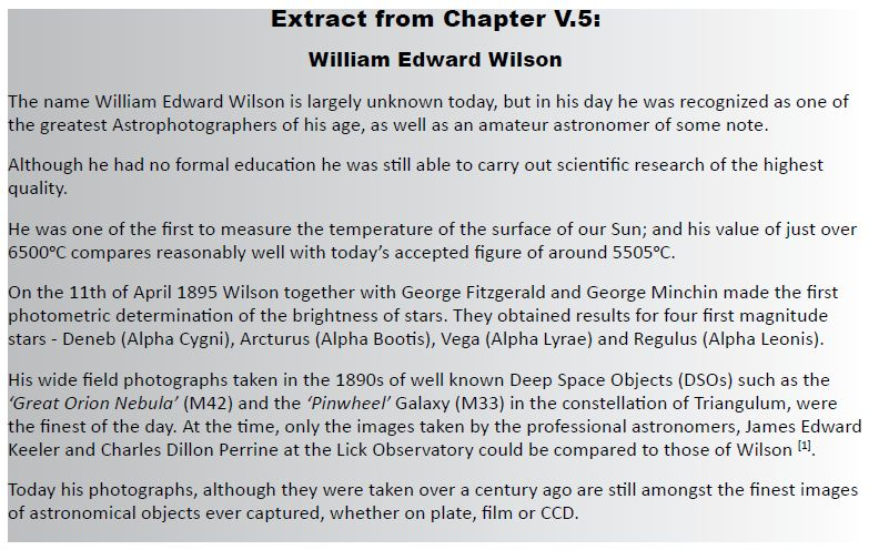 V5 william edward wilson william edward wilson 1851 1908 was probably the greatest deep space astrophotographer of his day as well as a scientist who made valuable contributions fandeluxe Gallery