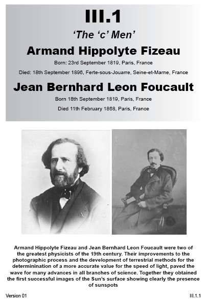 III.1 Hippolyte Fizeau & Leon Foucault